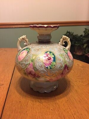Antique Moriage 2-Handled Vase with Intricate Design and Hand Painted Flowers