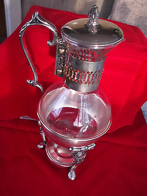 SILVER PLATE GLASS COFFEE/TEA CARAFE POT PITCHER with Warmer Stand Ornate Footed