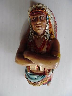 Vintage Bossons Indian Chief Chalkware Bust 1960s Rare