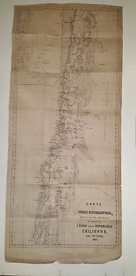 Antique Map of Chile Map of Western Chili 1856 Chilean Republic