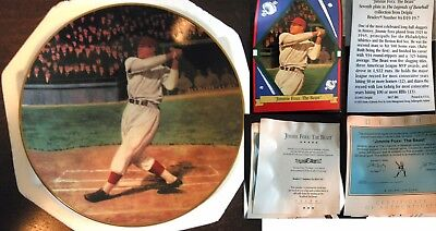 """JIMMIE FOXX: THE BEAST 1993 DELPHI THE LEGENDS OF BASEBALL LIMITED 8"""" COA Card"""