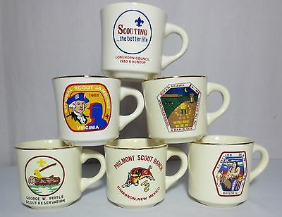 Boy Scout BSA Mugs Cups Philmont Pirtle Jamboree Lot of 6 USA Vintage Gold Rim