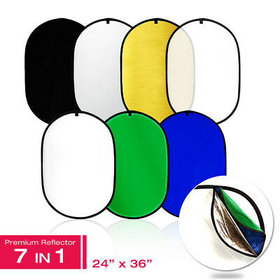 7-in-1 24x36 Inch Oval Collapsible Photography Photo Disc Light Reflector
