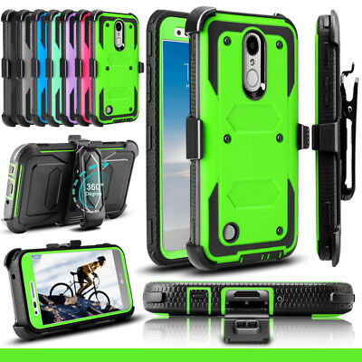 For LG Aristo 2 3/Rebel 4/Tribute Empire Shockproof Holster Stand Case Cover