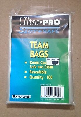 100 Ultra Pro Team Set Bags * Resealable Flap * 100ct Package