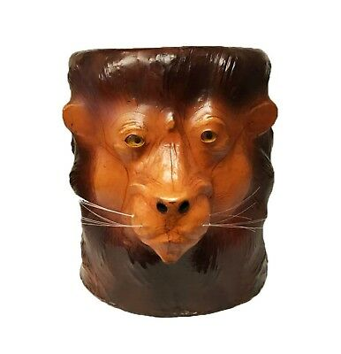 Embossed Lion Leather Covered Paper Mache Accent Table