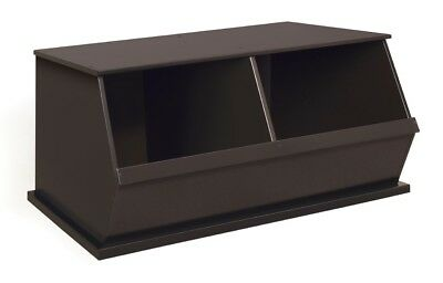 Kids Childrenu0027s 2 Bin Stackable Wood Toy Storage Cubby Espresso Dark Brown  NEW