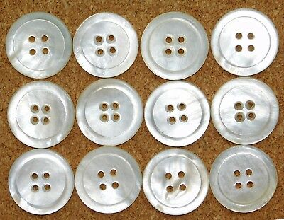 Antique Extra LARGE Carved Shell Mother-of-Pearl Buttons SET