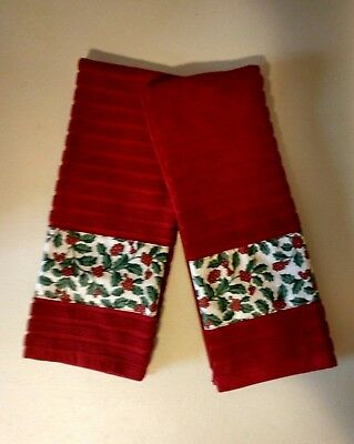 Longaberger Traditional Holly Fabric Handmade 2 Kitchen Dish Towels Free Ship