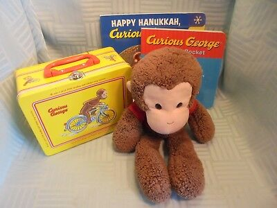 Curious George Collectors Lot Lunch Box + Books + Plush + Monkey