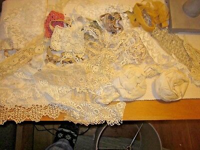 Antique Old Lot of Lace,Tatting, 2 large Silk Flowers, Irish Crochet,Trim