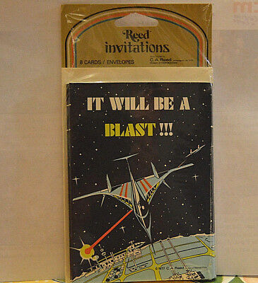 Vintage Star Spaceship Outer Space 1977 Party Invitations New 8 Cards Envelopes