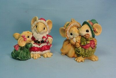1991 & 1992 Ganz Little Cheesers Christmas Figures Mice/Mouse