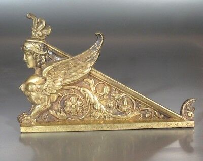 Antique French Bronze Furniture Decoration, Sphinx Mythological Woman Head Wings