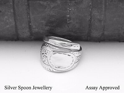 Pretty Bright Cut Solid Sterling Silver Spoon Ring Very Small Sizes