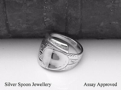 Pretty Bright Cut Solid Sterling Silver Spoon Ring  Small Sizes