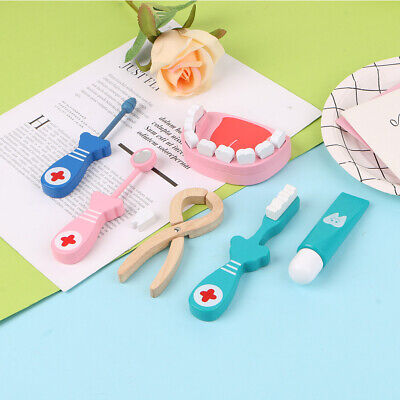 6 Pcs Baby Toys Doctor Set Play Wooden Dental Tools Simulation Medicine Box