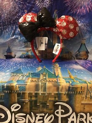 Disney Parks Sequin Minnie Mouse Polka Dot Red White Black Bow Headband Ears