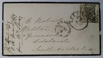 RARE 1879 Great Britain Mourning Cover ties 6d grey QV stamp to Australia