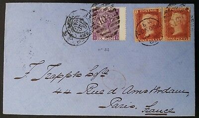 """RARE 1869 Great Britain Cover ties 3 QV stamps """"103"""" postmark to Paris"""