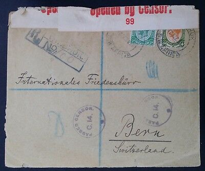 RARE 1917 Southwest Africa Registd Censor Cover ties 2 KGV stamps canc Windhoek