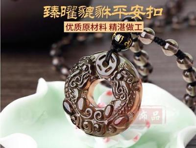 Chinese Natural Ice Obsidian Hand-Carved Bless Dragon Pixiu Pattern Pendant