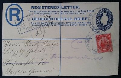 RARE 1921 Southwest Africa Registd Cover ties 2 stamps canc Usakos to Germany