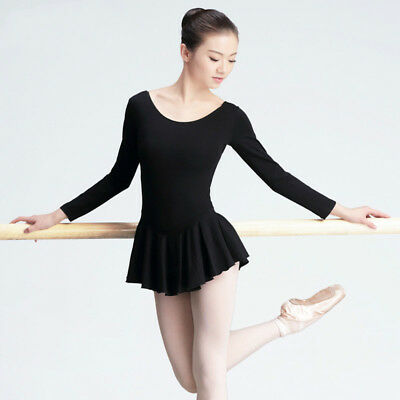 Women Adult Long Sleeve Plain Ballet Dance Dress Gymnastics Leotard Costume