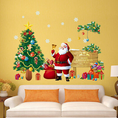 Removable Christmas Santa Claus PVC Window Wall Sticker Home Decal Decoration
