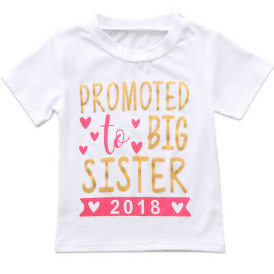 US New Kids Baby Girls Cotton Tops Toddler Big Sister Summer T-shirts Clothes