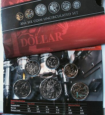 2014 Mint set 6 coin uncirculated set coloured $1 roo MOR as issued by RAM