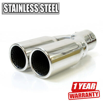 Split Sport Exhaust Tip Muffler Trim Pipe Chrome Stainless Steel Durable
