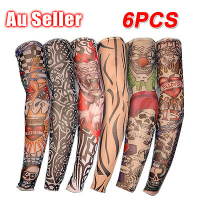 Nylon Stretch Costume Fake Tattoo Sleeve Arm Stocking Fancy Dress Pack of 6 AU