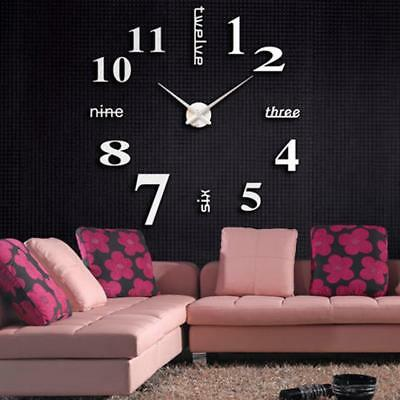 Acrylic Modern DIY Wall Clock 3D Mirror Surface Sticker Home Office Decor