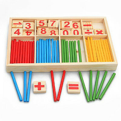Colourful Montessori Teaching Tool Math Number Wood Blocks Preschool Kids Toy