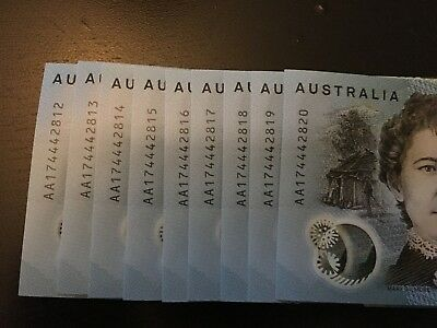 2017 $10 Uncirculated First Prefix Aa New Generation Note Consecutive Run Of 9