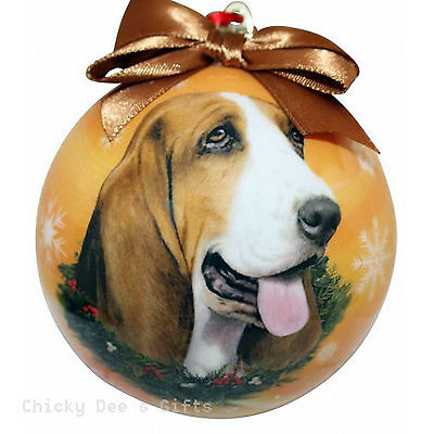 E & S Pets Basset Hound Shatter Proof Christmas Ball Ornament