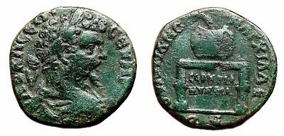*AET* SEPTIMIUS SEVERUS AE25. VF. Anchialus (Thrace) mint. Table-Urn.