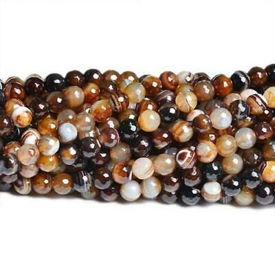 Banded Agate Faceted Round Beads 6mm Brown 60+ Pcs Gemstones Jewellery Making