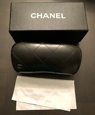 New Chanel Black Quilted Sunglass Case with box cleaning cloth
