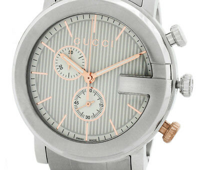 9612ebccf03 Pre-Owned GUCCI G Chrono All SS Gray Dial Men s Quartz Wristwatch YA101360