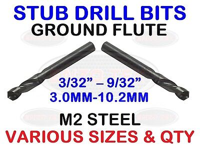 HSS Stub Drill Bits Proffesional Short Stubby Metric Imperial Ground Flute