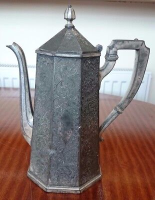 Antique Derby Silver Company Engraved Tall Octagonal Coffee Tea Pot Silver Plate