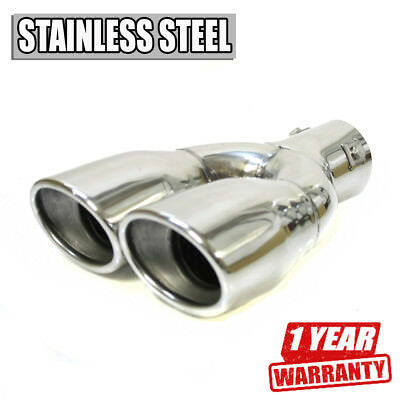 Split Car Exhaust Tip Tuning Trim Pipe Chrome Stainless Steel Durable