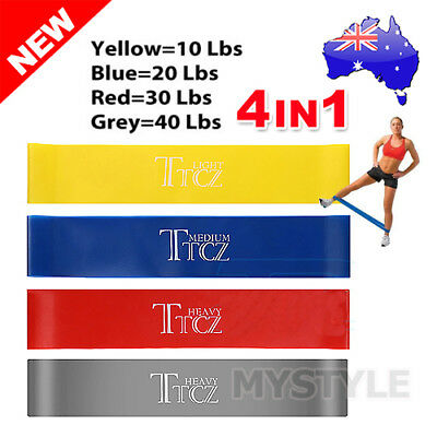 Set Of 4 Power Heavy Duty Resistance Band Gym Yoga LOOP Exercise Fitness Workout