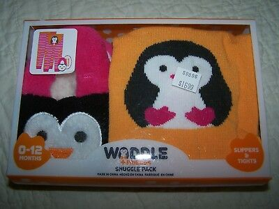 """Baby Girls """"WADDLE"""" Snuggle Pack~0-12 Mos~Tights (Footless) & Slippers~NWT!"""