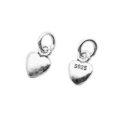Set of 2 Tiny Solid 925 Sterling Silver 3D Puffed Plain Love Heart Pendant Charm