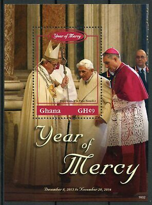 Ghana 2016 MNH Year of Mercy Pope Benedict XVI Francis 1v S/S Popes Stamps