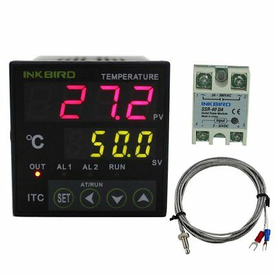 Dual Digital PID Temperature Controller 2 Omron Relay Thermostat 40A SSR K-Senso