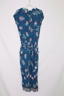 Zara Girls Blue Pink White Floral Jumpsuit age 11-12 years